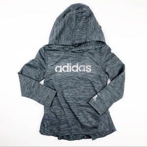 Adidas Space Dye Ruffle Hooded Shirt Gray Size 4